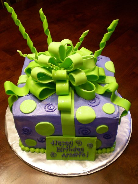 Purple and Green gift cake - Cake Envy