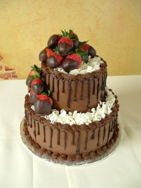 Chocolate drizzle & strawberries