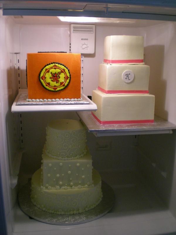 Fridge full of wedding cakes