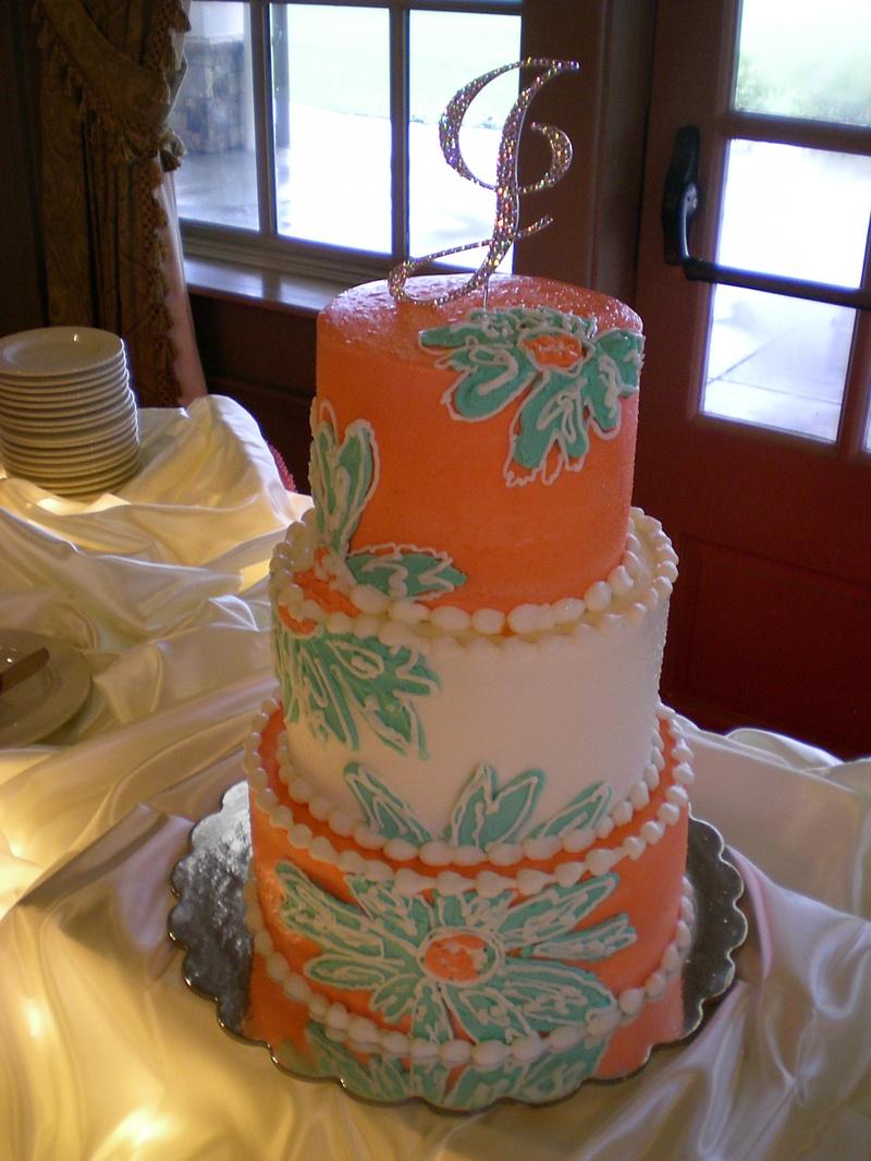 Guava and Tiffany Wedding Cake