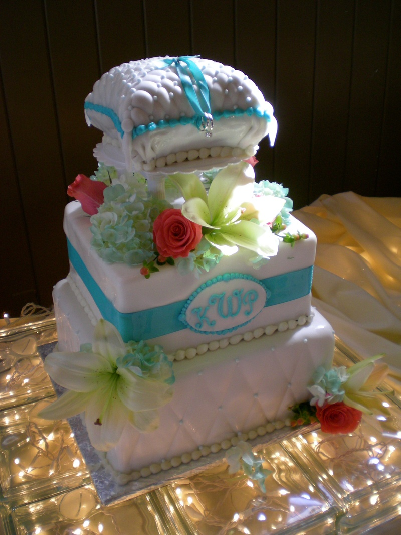 Kerri & Paul's Tiffany Blue wedding cake