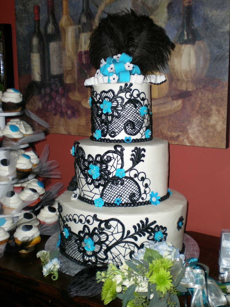 Blue & Black Wedding Cake