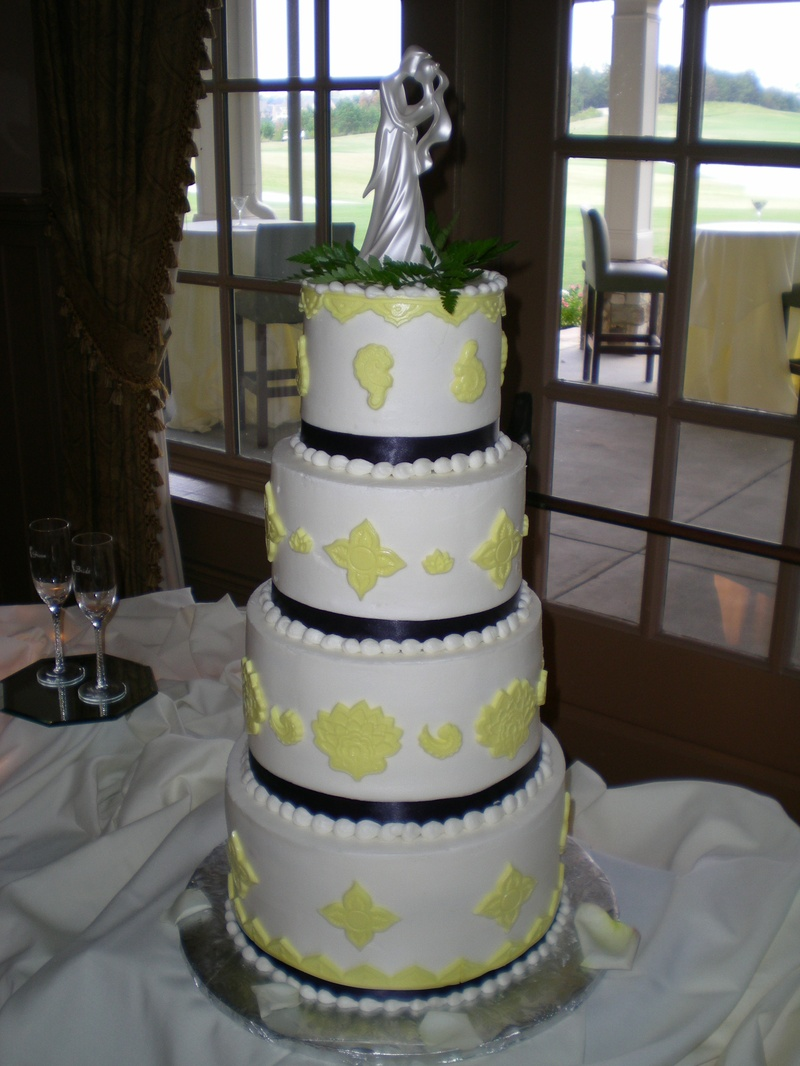 Yellow & Eggplant Damask Wedding Cake
