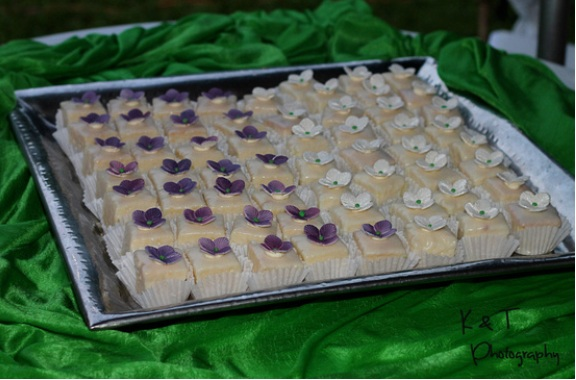 Vanilla/Almond Petit fours with sugar flowers!