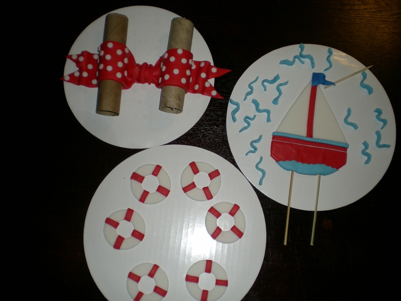 fondant pieces for my Nautical Baby Cake
